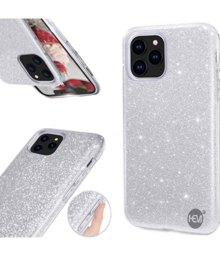 HEM Apple iPhone 12  Pro Max Glitter Silver Siliconen Gel TPU / Back Cover / Hoesje iPhone 12  Pro Max