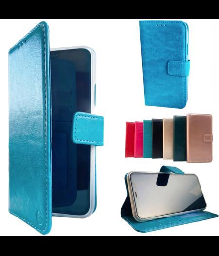 HEM Apple iPhone 12 Mini  Aqua Blauw Wallet / Book Case / Boekhoesje/ Telefoonhoesje / Hoesje iPhone 12 Mini met vakje voor pasjes, geld en fotovakje
