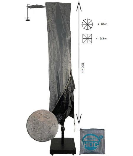 CUHOC Diamond parasolhoes voor zweefparasol - 250x55x60 cm - met Rits en Trekkoord incl. Stopper en Stok- Zilvergrijze Parasolhoes