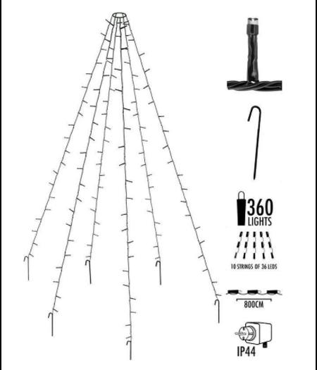 andere ean Verlichting voor vlaggenmast - 8 meter - 360 LED's