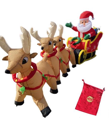 Verlichte Kerstman met Slee en Rendieren - Opgeblazen 3,4m - Inclusief Verlichting + Pomp