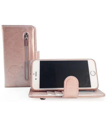 Apple iPhone 13 Pro Max - Rosé Gold Leren Rits Portemonnee Hoesje - Lederen Wallet Case TPU meegekleurde binnenkant - Book Case - Flip Cover - Boek - 360º beschermend Telefoonhoesje
