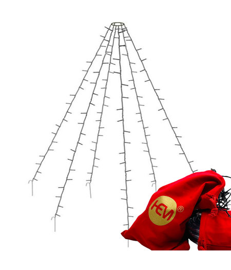 LED Vlaggenmast verlichting - 120 LED- Warm Wit - 2 meter hoog - met HEM opbergzak