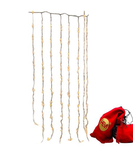 LED Balkonverlichting - 320 Led- 8 streng - Waterval - Gordijn kerstverlichting - HEM opbergzak