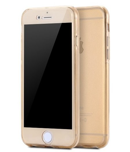 HEM iPhone 6 plus/6s Plus Full protection siliconen goud transparant voor 100% bescherming