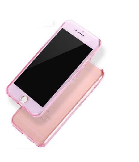 HEM iPhone 6 Plus/6s Plus Full protection siliconen roze transparant voor 100% bescherming