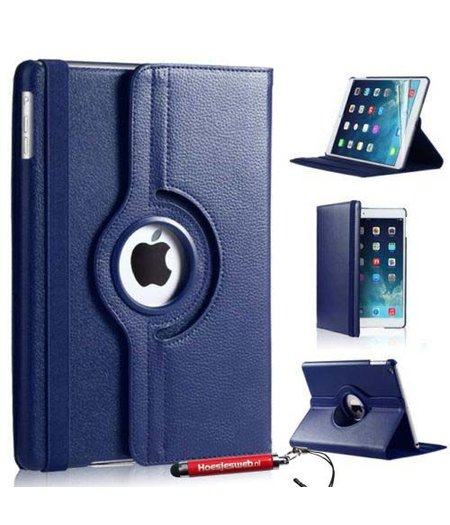HEM Donker Blauwe iPad mini 4 360 graden draaibare tablethoes met uitschuifbare Hoesjesweb stylus