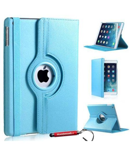 HEM Licht Blauwe iPad mini 4 360 graden draaibare tablethoes met uitschuifbare Hoesjesweb stylus