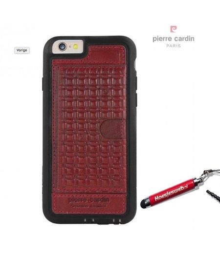Pierre Cardin Rood visitekaartjes/ pasjes hoesje Apple iPhone 6 Plus met originele hoesjesweb stylus