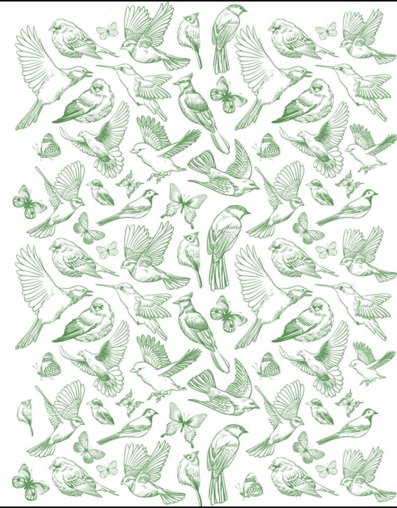 Sanbao Birds & Butterflies Decal (underglaze decal - 16cm x 22cm)