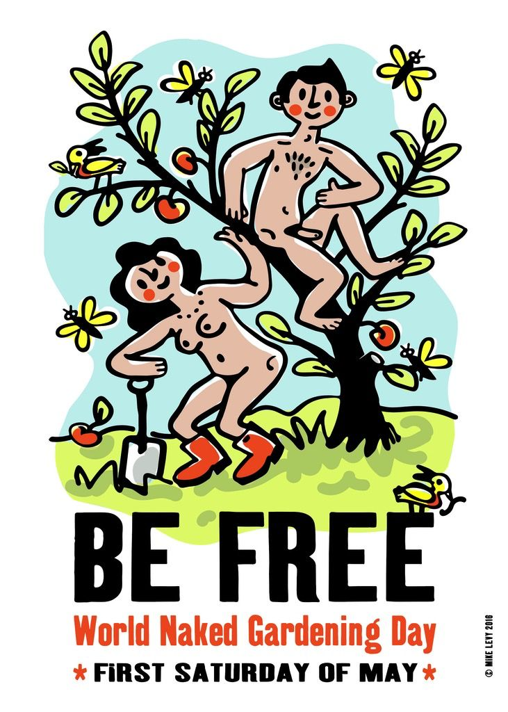 World Naked Gardening Day Small Poster
