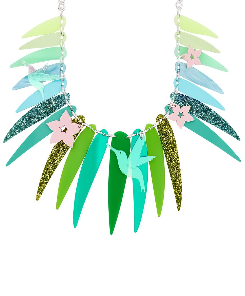 Tropical Palm Leaves Statement Necklace