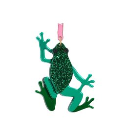 Emerald Frog Brooch