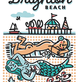 Brighton Beach Sunbathers small poster