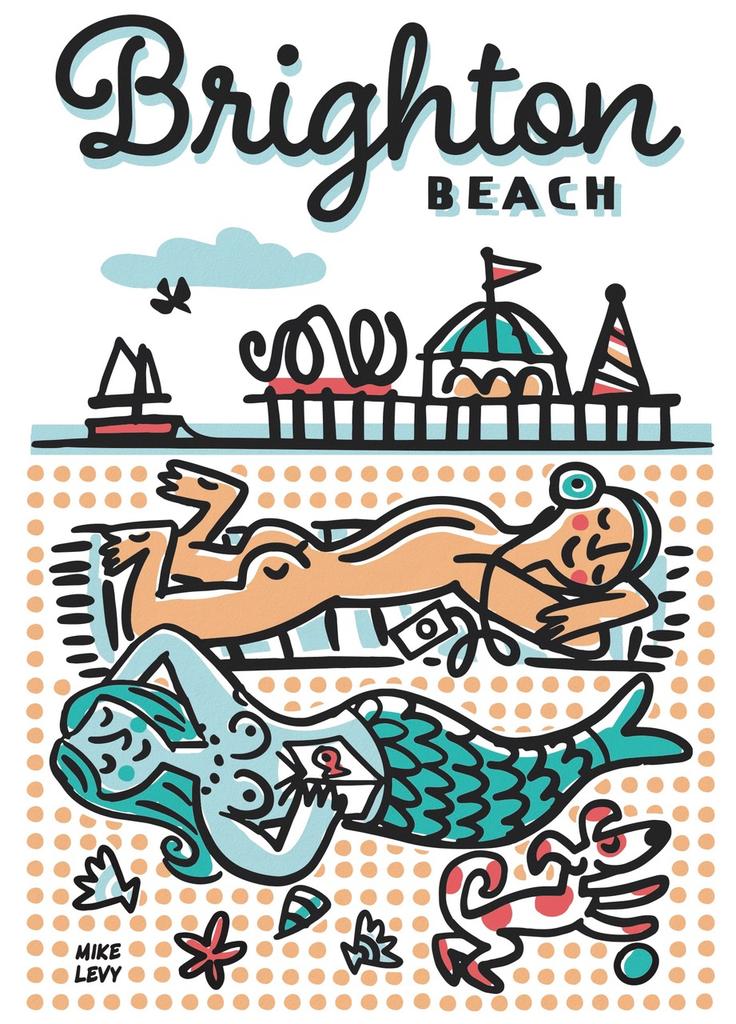 Brighton Beach Sunbathers small poster