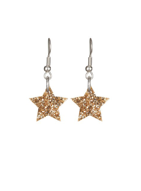 Tatty Devine Star Charm Earrings Gold Glitter