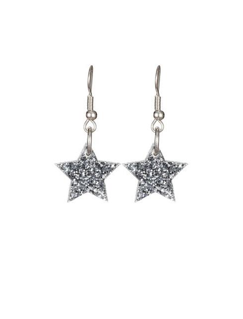 Tatty Devine Star Charm Earrings Silver Glitter