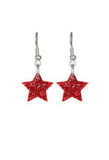 Tatty Devine Star Charm Earrings Red Glitter