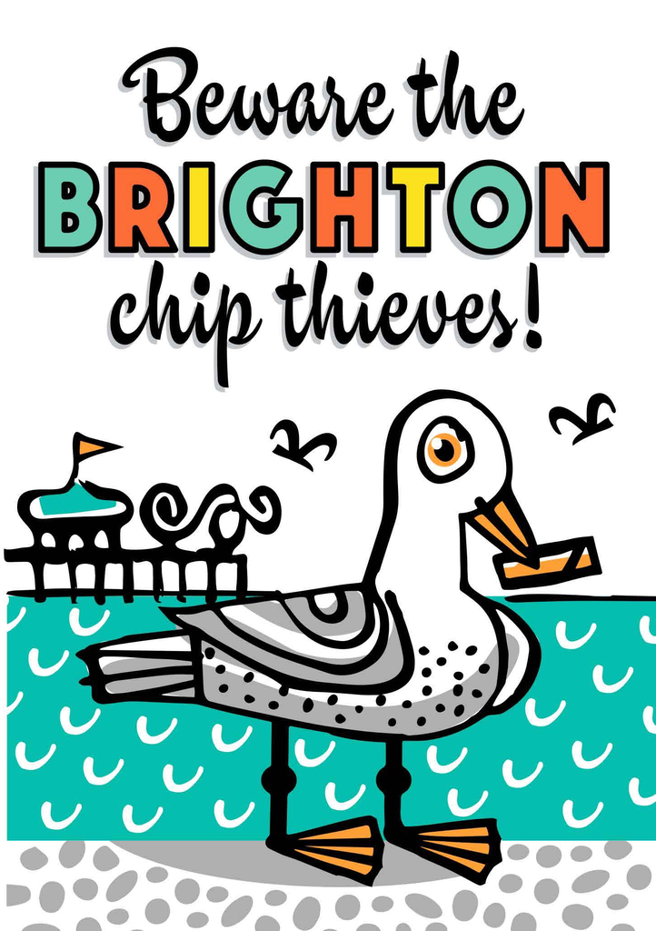 Brighton Chip Thieves Greeting Card