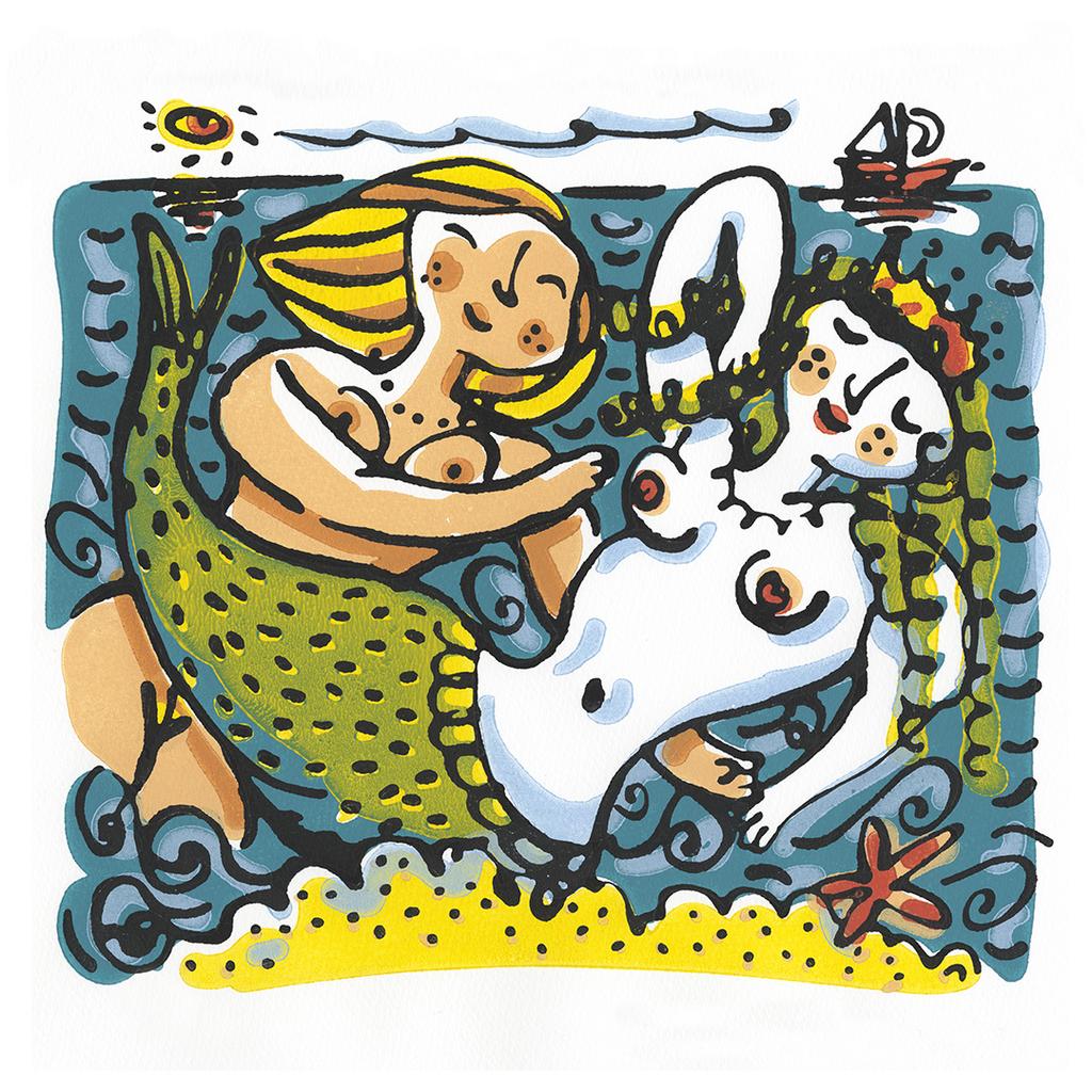 Mermaid Couple greeting card