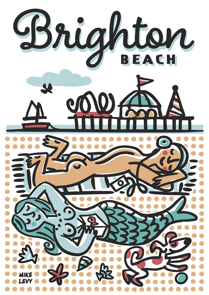 Brighton Beach Sunbathers Greeting Card