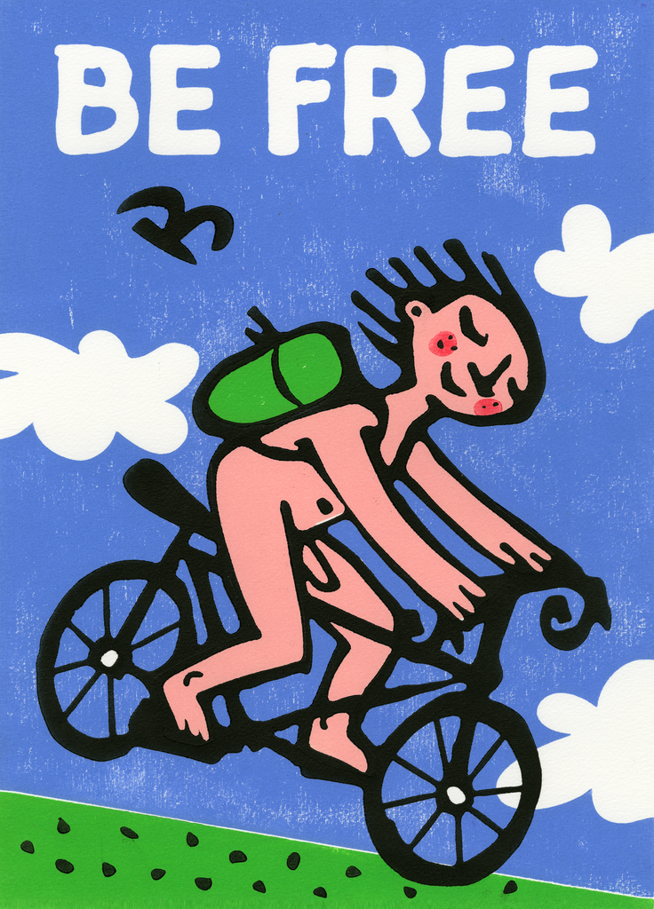 Downhill Racer (Be Free) Greeting Card