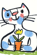Blue cat with Flower Greeting Card