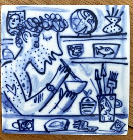 Tile with potter and pots 105x105mmmm