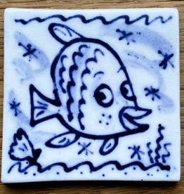 Tile with angel fish 60x60mm