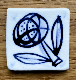 Small tile with fabulous flower 40x40mm