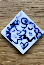 Handmade porcelain tile by Mike Levy with cobalt blue decoration
