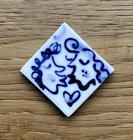 Small tile with kissing couple 30x30mm