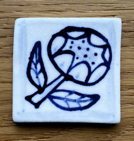 Tile with peony 40x40mm