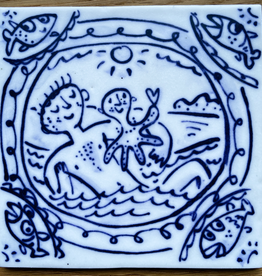 Tile with sailor and squid 105x105mm