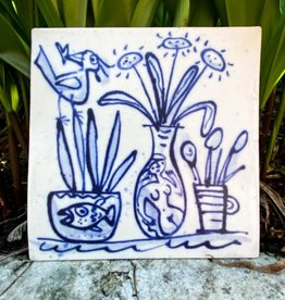 Tile with vases and bird 105x105mm