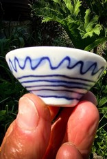Mike Levy porcelain salt dish with cobalt lyrical drawing approx diameter 60mm x height 25mm