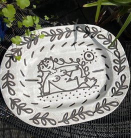 Platter with nude and leaf border