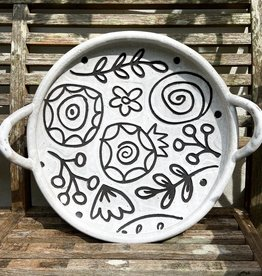 Round flower pattern platter with handles