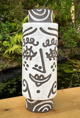 Handbuilt  embossed stoneware large face vase in black clay with white stone glaze - 340mm tall
