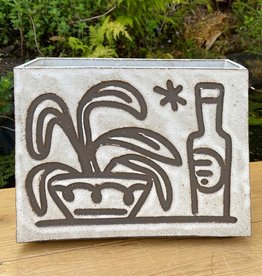 Handbuilt  embossed stoneware box vase