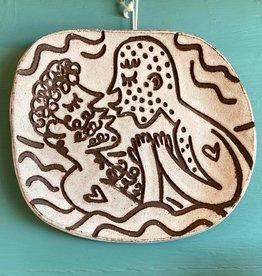 Handbuilt  embossed stoneware wall plate