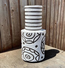 Handbuilt  embossed stoneware large vase