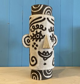 Handbuilt  embossed stoneware large face vase