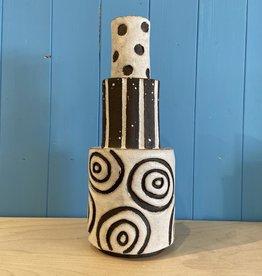 Handbuilt  embossed stoneware tiered vase