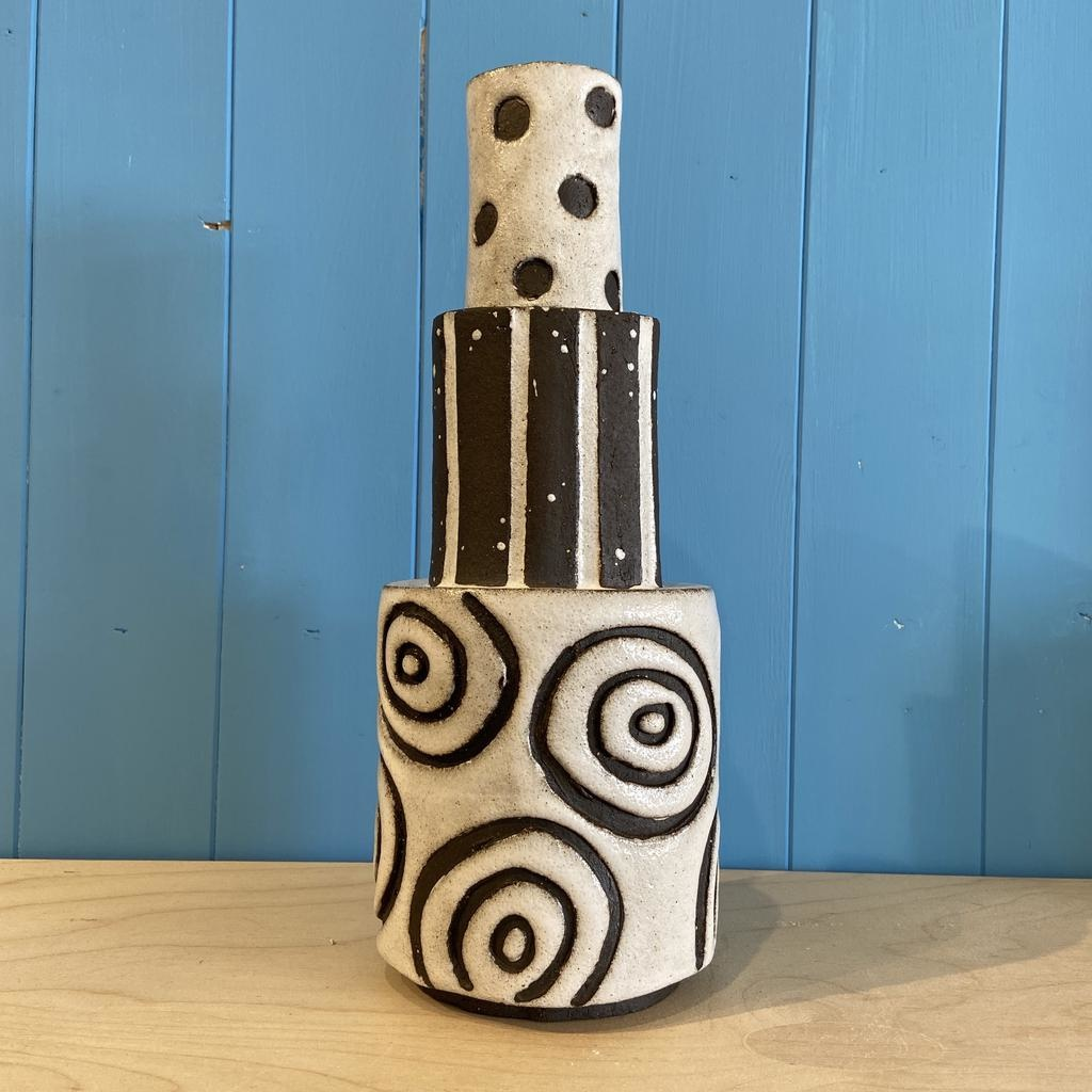 Handbuilt  embossed stoneware large tiered vase in black clay with white stone glaze - 320mm tall