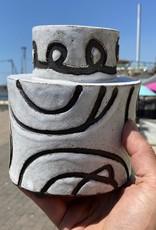 Stoneware oval vase