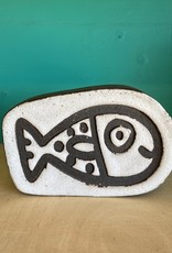 Handbuilt  embossed stoneware fish paperweight in black clay with white stone glaze 110x80mm