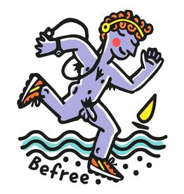 Blue Jogger on Beach Greetings Card
