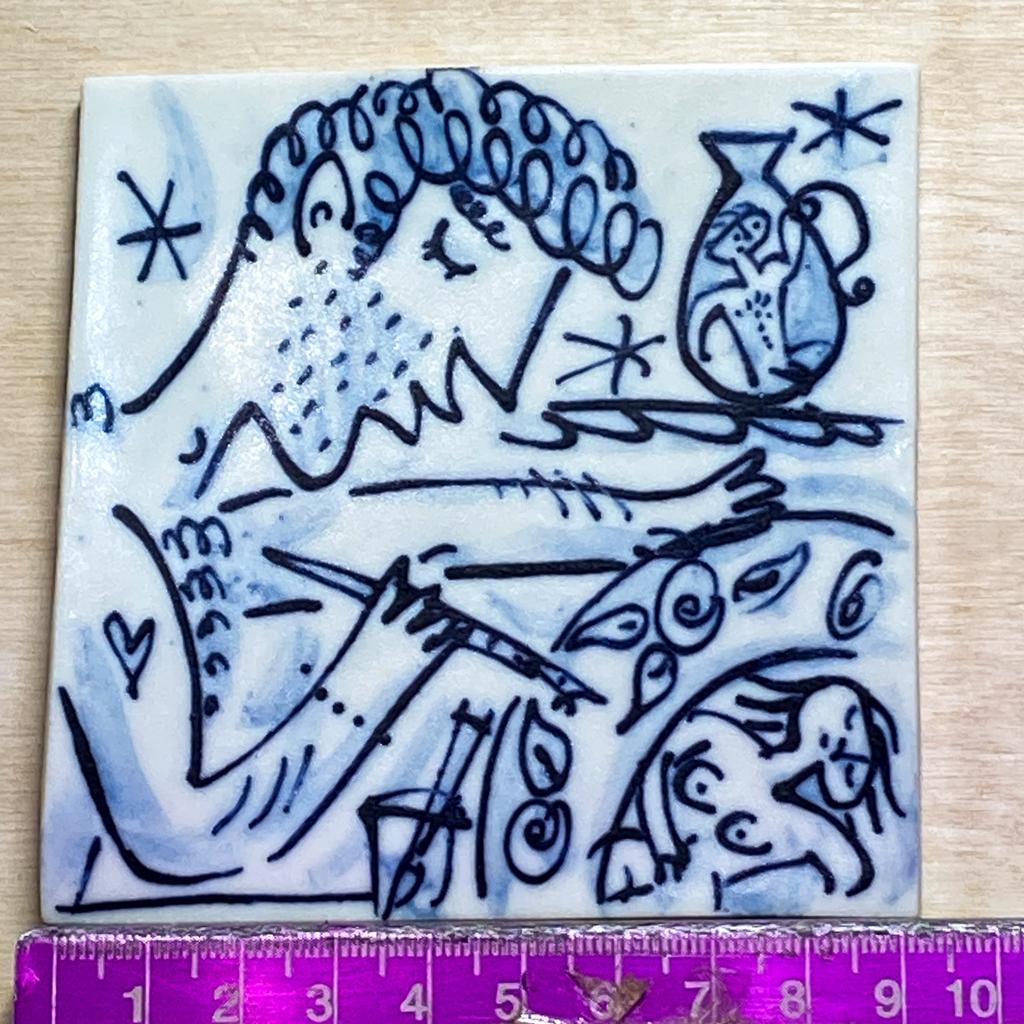 Handmade porcelain square tile