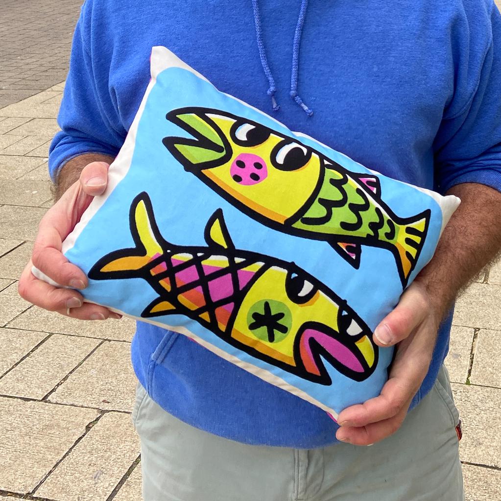"""Fish Duo cushion 12 x 16"""""""